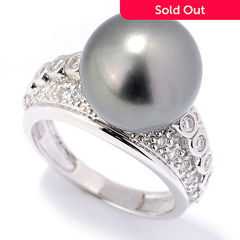132-106 - The Vault from Gems en Vogue 14K Gold 12-12.5mm Cultured Pearl & Diamond Ring