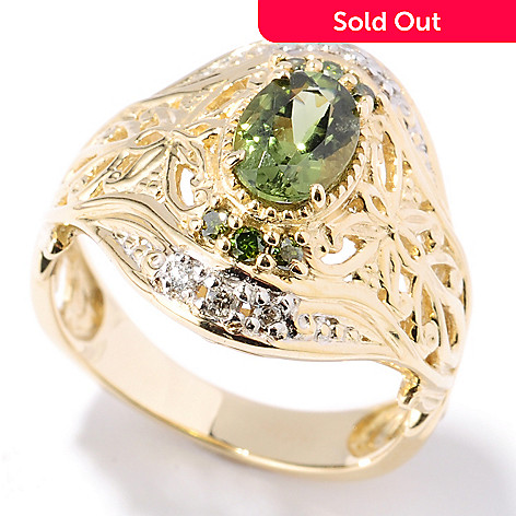 132-107 - The Vault from Gems en Vogue 14K Gold Tashmarine & Diamond Ring