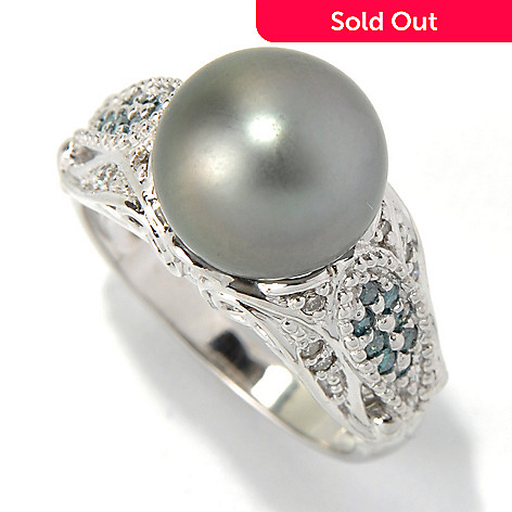 132-109 - The Vault from Gems en Vogue 14K Gold 10-10.5mm Cultured Pearl & Diamond Ring