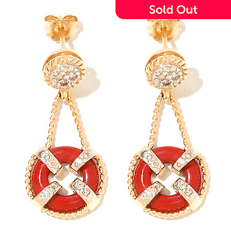 132-117 - The Vault from Gems en Vogue 14K Gold Red Coral & Diamond Drop Earrings