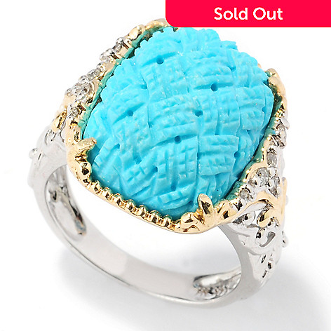 132-118 - The Vault from Gems en Vogue 14K Gold Sleeping Beauty Turquoise & Diamond Ring