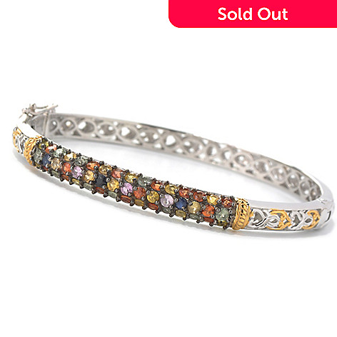132-121 - Gems en Vogue II 3.84ctw Multi Color Sapphire Hinged Bangle Bracelet