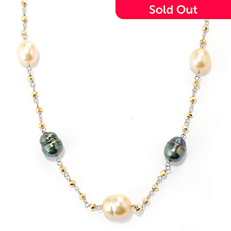 132-127 - Sterling Silver 18'' 10-11mm South Sea & Tahitian Cultured Pearl & Pyrite Necklace w/ 2'' Extender