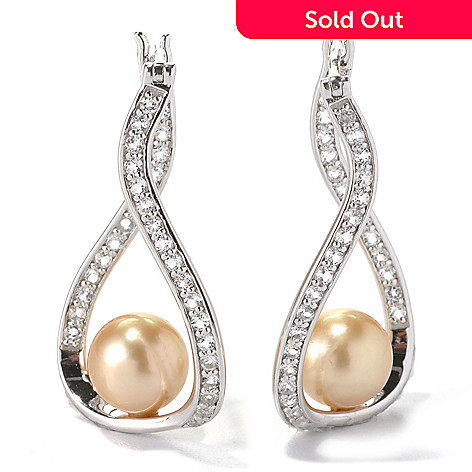 132-128 - Sterling Silver 1.25'' 8-9mm Golden South Sea Cultured Pearl & White Topaz Earrings