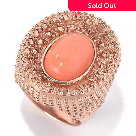 132-131 - Dallas Prince Designs Bamboo Coral & White Topaz Ring Made w/ Swarovski® Marcasite