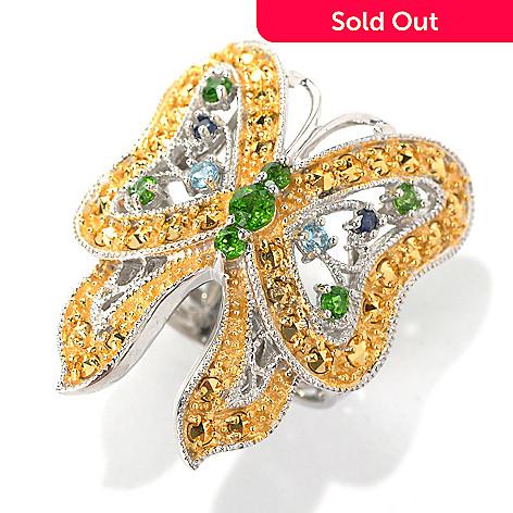 132-134 - Dallas Prince Designs Multi Gemstone Butterfly Ring Made w/ Swarovski® Marcasite