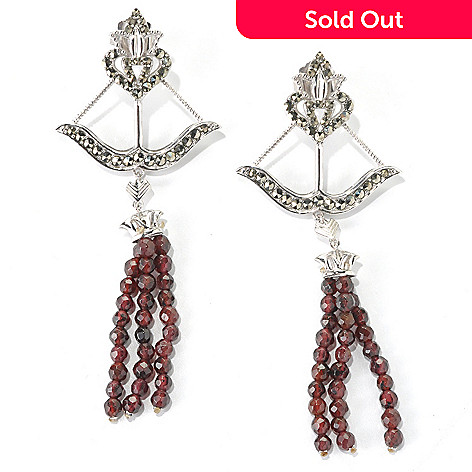132-139 - Dallas Prince Sterling Silver 3.75'' Earrings Made w/ Swarovski® Marcasite