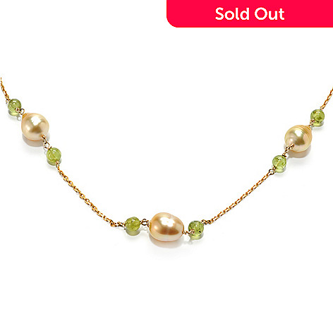132-144 - 21.5'' 9-10mm South Sea Cultured Pearl & Peridot Station Necklace w/ Magnetic Clasp