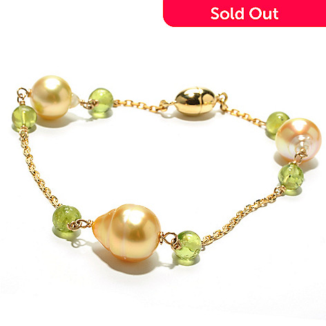 132-145 - 8'' 9-10mm Golden South Sea Cultured Pearl & Peridot Station Bracelet w/ Magnetic Clasp
