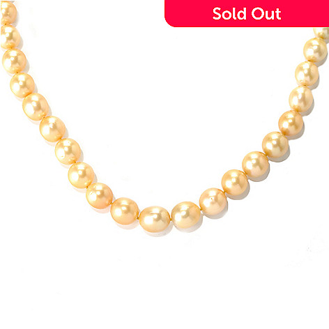 132-147 - 14K Gold 20'' 11-12mm Golden South Sea Cultured Pearl Necklace
