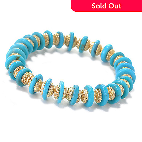 132-150 - Toscana Italiana 18K Gold Embraced™ 6.75'' Turquoise & Beaded Station Stretch Bracelet