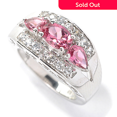132-156 - Gem Treasures® Sterling Silver 2.40ctw Pink Tourmaline & White Zircon Split Ring
