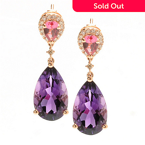 132-157 - Gem Treasures 14K Rose Gold 1'' 9.80ctw Amethyst, Pink Tourmaline & Diamond Earrings