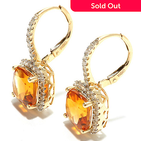 132-158 - Gem Treasures® 14K Gold 5.24ctw Madeira Citrine & Diamond Halo Leverback Earrings