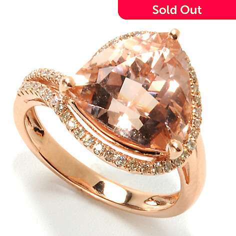 132-159 - Gem Treasures® 14K Rose Gold 5.34ctw Trillion Cut Morganite & Diamond Wrap Ring
