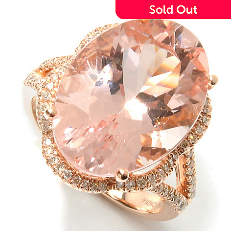 132-160 - Gem Treasures® 14K Rose Gold 10.96ctw Morganite & Diamond Framed Split Shank Ring