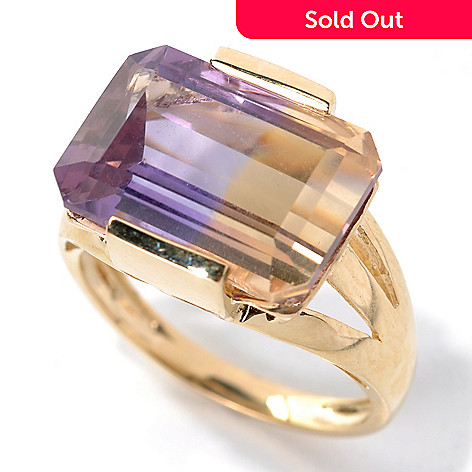 132-161 - Gem Treasures® 14K Gold 5.56ctw Emerald Cut Ametrine East-West Split Shank Ring