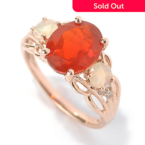 132-162 - Gem Treasures® 14K Rose Gold 2.31ctw Fire Opal, Ethiopian Opal & Diamond Ring