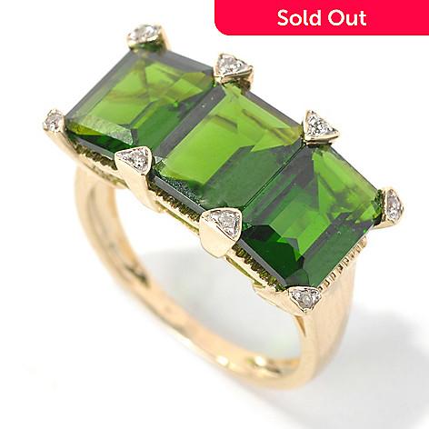 132-164 - Gem Treasures® 14K Gold 6.23ctw Emerald Cut Chrome Diopside & Diamond Three-Stone Ring