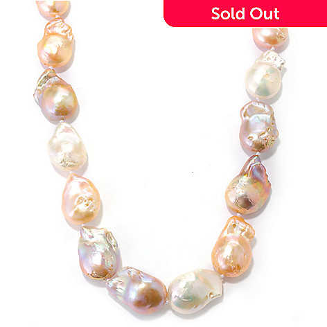 132-175 - 20'' 15-16mm Multi Color Freshwater Baroque Cultured Pearl Necklace w/ Magnetic Clasp