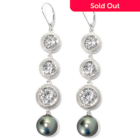 132-176 - Sterling Silver 3.25'' 14mm Peacock Tahitian Cultured Pearl & Topaz Drop Earrings
