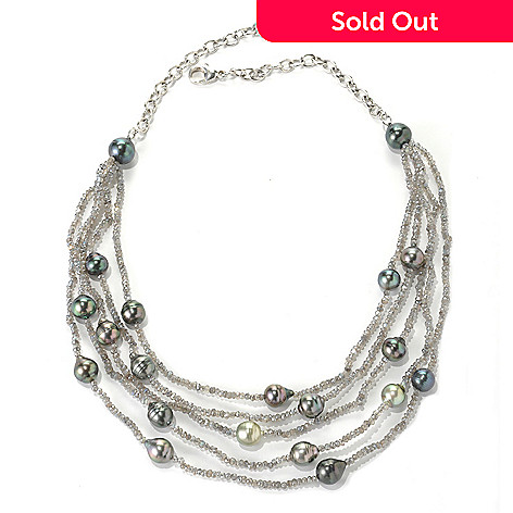 132-180 - Sterling Silver 20'' 9-11mm Peacock Tahitian Cultured Pearl Five-Strand Gemstone Necklace