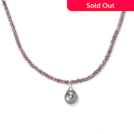 132-184 - 20'' 11-12mm Exotic Cultured Pearl & Faceted Garnet Necklace w/ Magnetic Clasp
