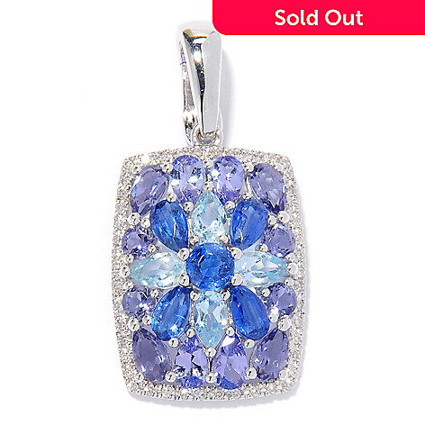 132-189 - Gem Treasures® Sterling Silver 3.75ctw Diamond & Shades of Blue Multi Gem Enhancer