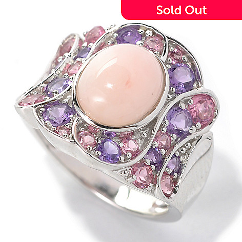 132-198 - Gem Insider™ Sterling Silver 10 x 8mm Pink Opal & Multi Gemstone Concave Swirl Ring