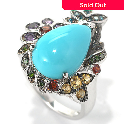 132-200 - Gem Insider™ Sterling Silver 15 x 10mm Sleeping Beauty Turquoise & Multi Gem Ring