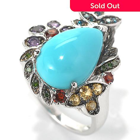 132-200 - Gem Insider® Sterling Silver 15 x 10mm Sleeping Beauty Turquoise & Multi Gem Ring