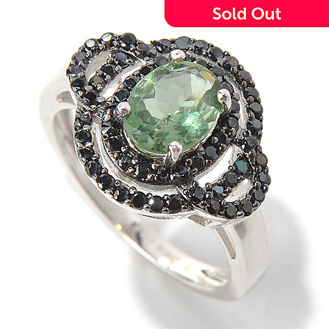 132-202 - Gem Treasures Sterling Silver 1.70ctw Green Apatite & Spinel Interlaced Ring