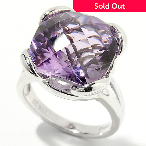 132-206 - Gem Insider™ Sterling Silver 10.00ctw Cushion Cut Amethyst Solitaire Ring