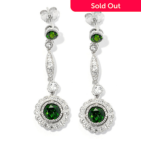 132-208 - NYC II™ 3.40ctw Chrome Diopside & White Topaz Elongated 1.5'' Drop Earrings