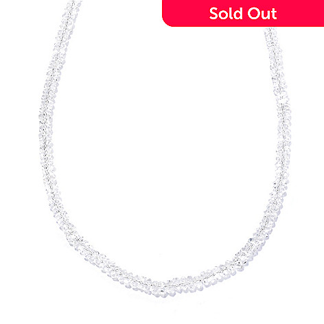 132-212 - Gem Insider® Sterling Silver 18'' 6mm Herkimer Quartz Bead Necklace