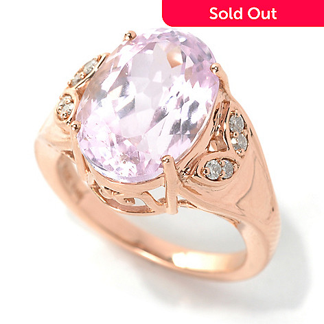 132-214 - Gem Treasures® 14K Rose Gold 6.69ctw Oval Kunzite & Diamond Ring