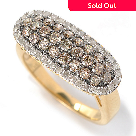 132-218 - Diamond Treasures 1.00ctw Champagne & White Diamond Framed Oblong East-West Ring