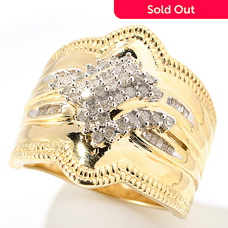 132-219 - Diamond Treasures 14K Gold 0.35ctw Round & Beaded Wide Ring