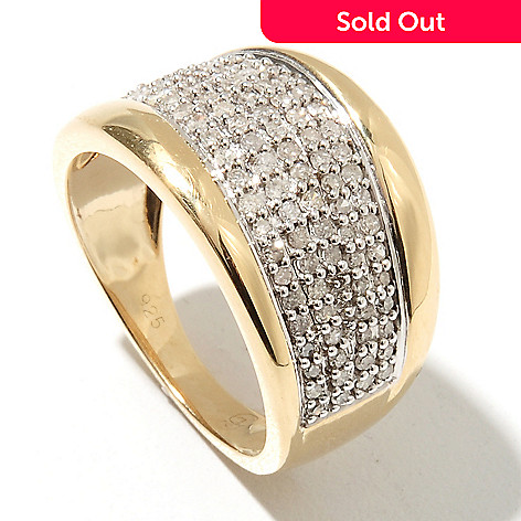 132-223 - Diamond Treasures® 0.50ctw Round Cut Diamond Wave Wide Band Ring
