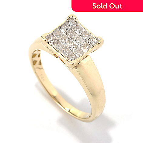 132-238 - Diamond Treasures® 14K Gold 0.70ctw Invisible Set Princess Cut Diamond Ring