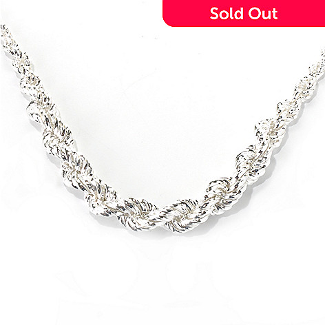 132-241 - SempreSilver® 18'' Twisted Rope Graduated Chain Necklace, 52.8 grams