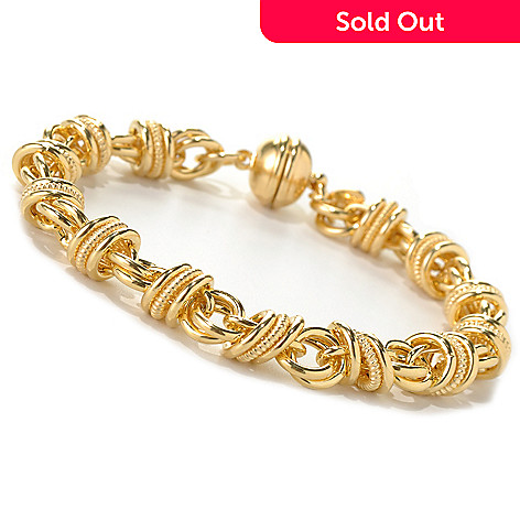 132-244 - Portofino Gold Embraced™ 8'' Status Link Bracelet w/ Magnetic Clasp