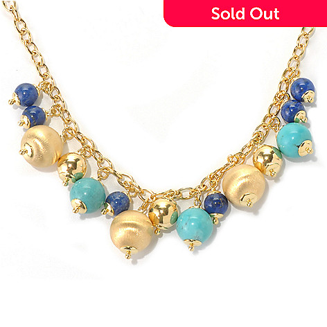 132-245 - Portofino Gold Embraced™ 18'' Turquoise & Lapis Bead Charm Necklace