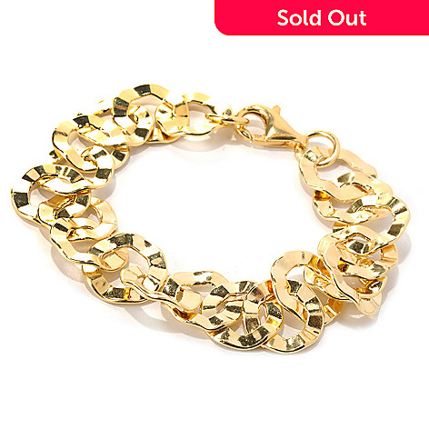132-249 - Portofino Gold Embraced™ 8'' Polished Irregular Rolo Link Bracelet