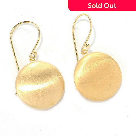 132-264 - Portofino 18K Gold Embraced™ 1.5'' Round Satin Finished Drop Earrings