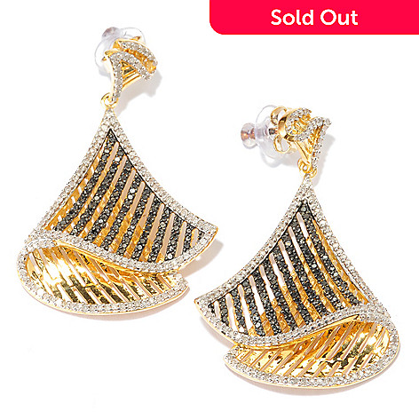 132-265 - Diamond Treasures 1.5'' 1.33ctw White & Fancy Color Diamond Fan Drop Earrings