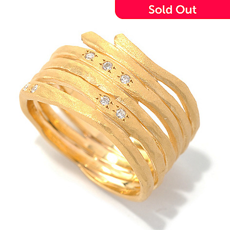 132-276 - MARIKA 14K Gold 0.08ctw Diamond Matte Finished Wrap Design Ring