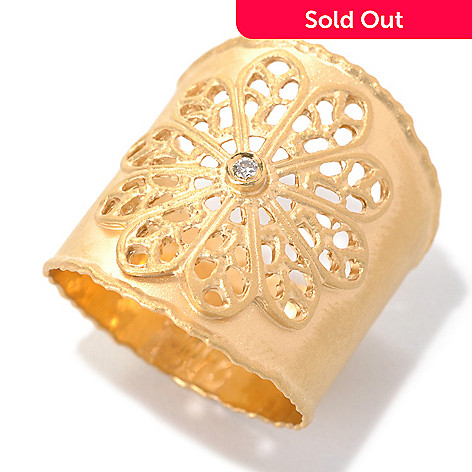 132-278 - MARIKA 14K Gold 0.02ctw Diamond Cut-out Flower Wide Band Ring