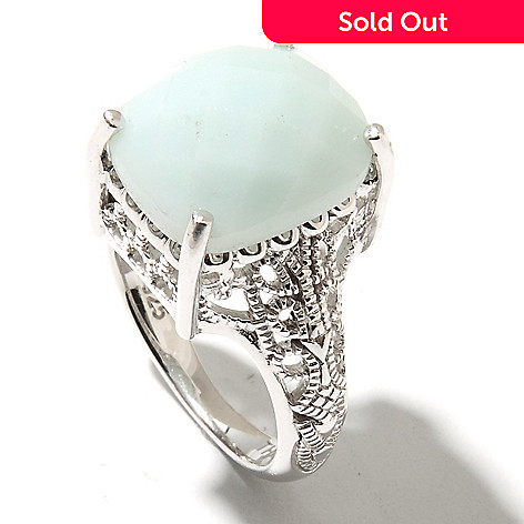 132-300 - Gem Insider Sterling Silver 14 x 12mm Cushion Shaped Amazonite Cut-out Ring
