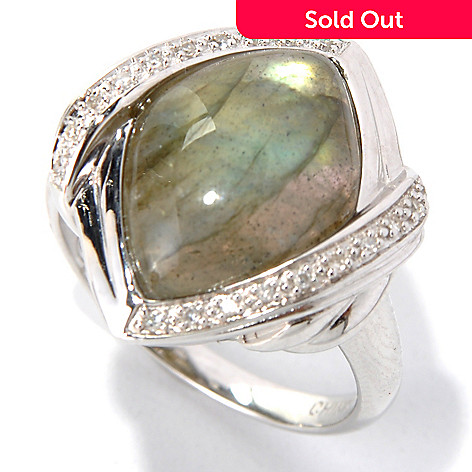 132-316 - Gem Insider Sterling Silver 16 x 11mm Marquise Labradorite & Diamond Ring